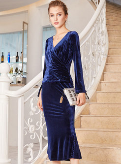 Sapphire Blue Velvet Irregular Top & Wrap Sheath Mermaid Skirt