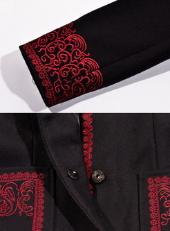 Ethnic High Neck Embroidered Wool Trench Coat With Pockets