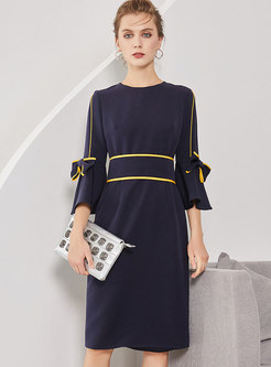 Crew-neck Flare Sleeve Wrap Midi Dress With Cross Strap
