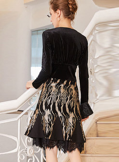 Autumn Striped V-neck Top & Sequined Embroidery Lace Trim Skirt