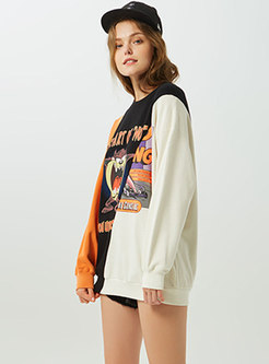 Fashionable Color-blocked Print O-neck Loose Sweatshirt