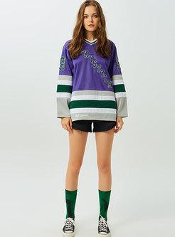 Chic Color-blocked Print V-neck Loose Sweatshirt