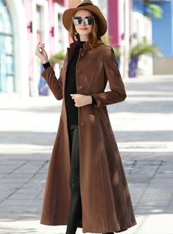 Pure Color Single-breasted Tie-waist Big Hem Coat