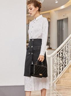 Stylish White T-Shirt Midi Dress & Asymmetric Striped Skirt