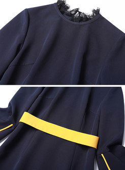 Trendy Navy Blue Flare Sleeve Scalloped Fishtail Hem Dress
