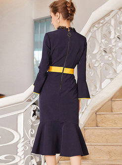 Trendy Navy Blue Flare Sleeve Scalloped Fishtail Hem Dress