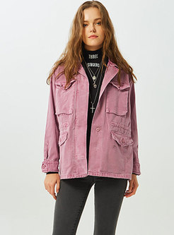 Pure Color Letter Print Single-breasted Straight Coat