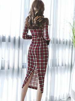 Sexy V-neck Houndstooth Gathered Waist Bodycon Dress With Split