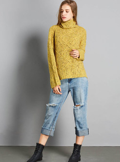 Yellow Turtle Neck Loose Pullover Sweater