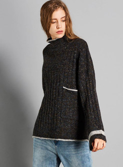 High Neck Color-blocked Hem Loose Sweater