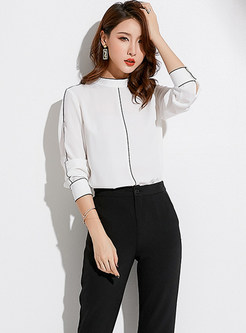 Stylish Color-Blocked Stand Collar Chiffon Blouse