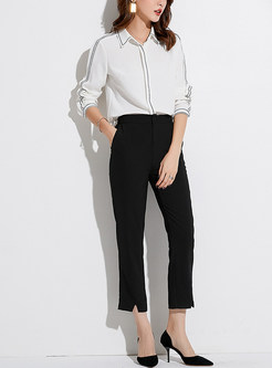 Trendy OL Color-blocked Lapel Slim Chiffon Blouse