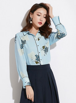 Work Print Single-breasted Lapel Chiffon Blouse