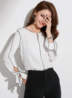 Color-blocked O-neck Tied Chiffon Blouse