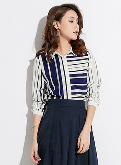 Striped Lapel Slim Chiffon Blouse