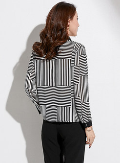 Striped Single-breasted Lapel Chiffon Blouse With Ciam
