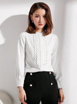 Elegant Pure Color Splicing Stand Collar Blouse