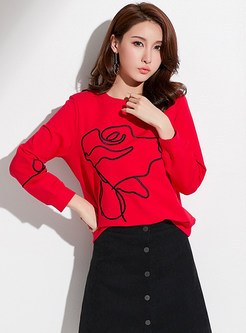 Casual Red Embroidered O-neck Sweatshirt