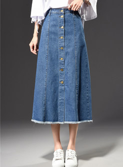 Stylish Blue Skater Denim Maxi Skirt With Tassel Edge