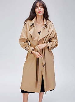 Pure Color Double-breasted Belted Long Trench Coat