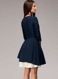 Party Retro Three Quarters Sleeve Asymmetric Patchwork Dress