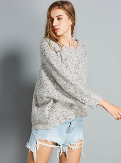 O-neck Long Sleeve Plus Size Pullover Sweater