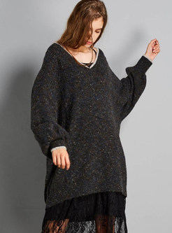 Fashion V-neck Plus Size Pullover Loose Sweater