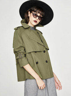 Chic Turn Down Color Straight Short Trench Coat