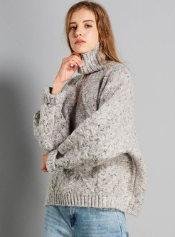 Casual Turtle Neck Plus Size Pullover Sweater