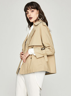 Chic Double-breasted Straight Short Trench Coat