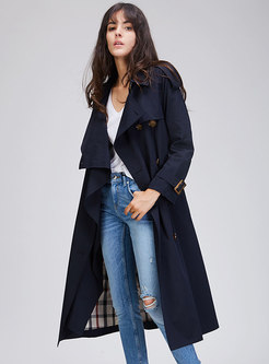 Pure Color Double-breasted Belted A Line Trench Coat