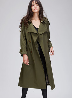 Trendy Solid Color Double-breasted Belted Slim Trench Coat