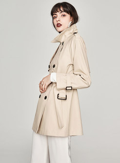 Chic Pure Color Double-breasted Slim Trench Coat