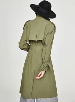 Pure Color Gathered Waist Bowknot Double-breasted Slim Trench Coat