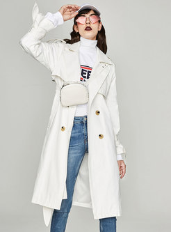 White Gathered Waist Bowknot Double-breasted Slim Trench Coat
