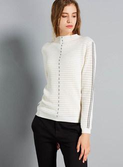 O-neck Color-blocked Striped Slim Sweater