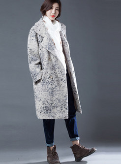 Casual Notched Color-blocked Double-breasted Wool Coat