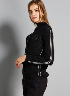 Black Slim Pullover Long Sleeve Color-blocked Sweater