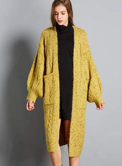 Lantern Sleeve Zip-up Pocket Plus Size Knitted Coat