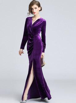 Elegant Purple V-neck Split Sheath Maxi Dress