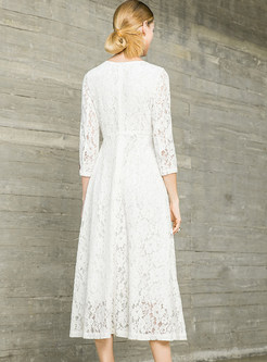 White Three Quarters Sleeve Embroidered Lace Waist Dress