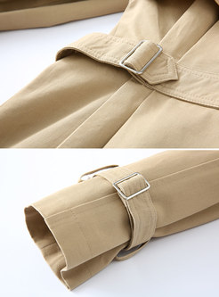 Brief Pure Color Double-breasted Gathered Waist Trench Coat