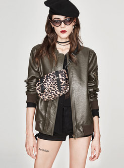 PU Stand Collar Zipper Biker Jacket