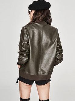 Casual PU Stand Collar Zipper Short Jacket