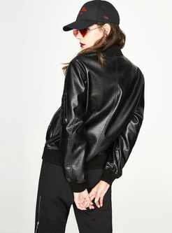 Black PU Stand Collar Zipper Short Jacket