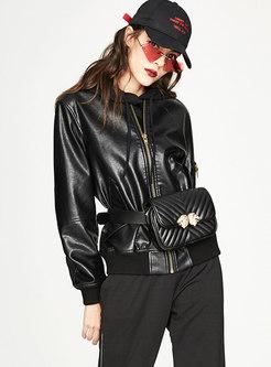 Black PU Stand Collar Zipper Short Jacket