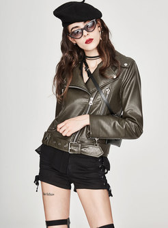 PU Solid Color Turn Down Collar Zipper Short Coat