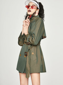 Trendy Turn Down Collar Double-breasted Belted Trench Coat