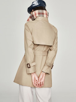 Turn Down Collar Double-breasted Belted Slim Trench Coat