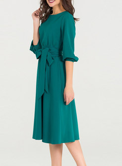 Vintage Green Crew-neck Skater Dress With Pockets